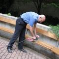 Putz- und Renovierungsaktionen im Park September 2009 - Beim Abschleifen der Bänke