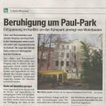 Artikel über Ruhepark in der Bezirkszeitung vom 9. Dezember 2009